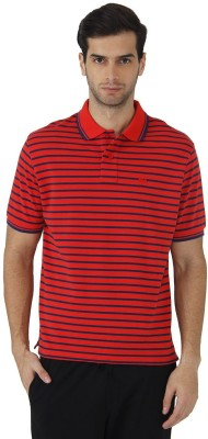 Fahrenheit Striped Men's Polo Neck Orange, Blue T-Shirt