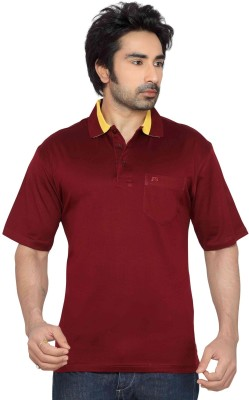 Thinc Solid Men's Polo Neck Maroon T-Shirt
