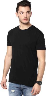Inkovy Solid Men's Round Neck Black T-Shirt