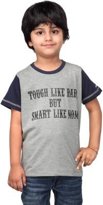 NautieCutie Printed Boy,s Round Neck Grey T-Shirt