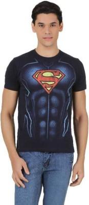 Superman Printed Men's Round Neck Dark Blue T-Shirt