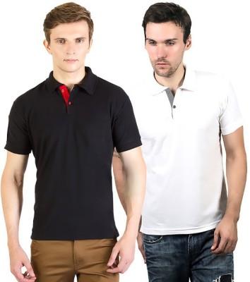 100Tees Solid Men's Polo Neck Black, White T-Shirt