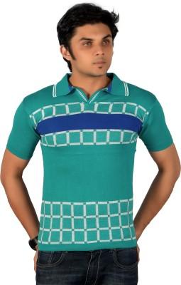 A33 Store Geometric Print Men's Flap Collar Neck Light Blue T-Shirt
