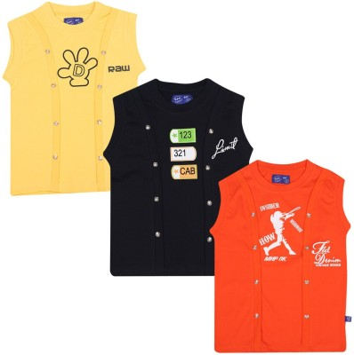 SPN Garments Printed Girl,s Round Neck Yellow, Black, Orange T-Shirt