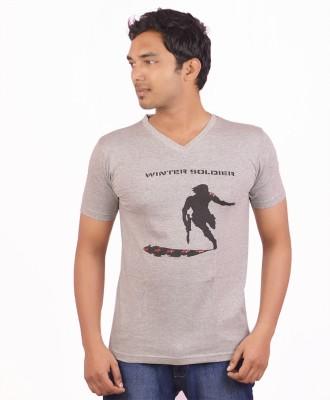 Indrow Printed Men's V-neck Grey T-Shirt