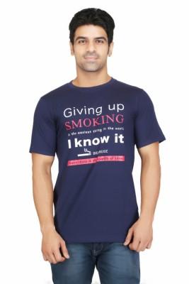 Crazeis Printed Men's Round Neck Blue T-Shirt
