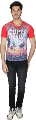 Grapes Plus Printed Men's Round Neck Red T-Shirt