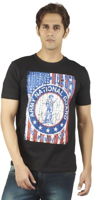 Soulrebel Graphic Print Men's Round Neck Black, Blue T-Shirt