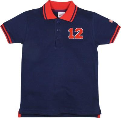 FS Mini Klub Solid Boy's Polo Neck Blue T-Shirt