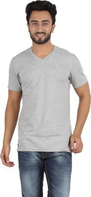Ocean Race Solid Men,s V-neck Grey T-Shirt