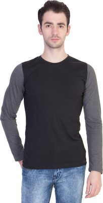 14forty Solid Men's Round Neck Black T-Shirt
