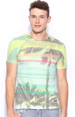 Mast & Harbour Printed Men,s Round Neck Green T-Shirt