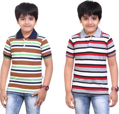 Dongli Striped Baby Boy's Polo Neck Dark Green, Silver T-Shirt