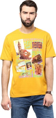 Poze Printed Men's Round Neck Yellow, Red T-Shirt
