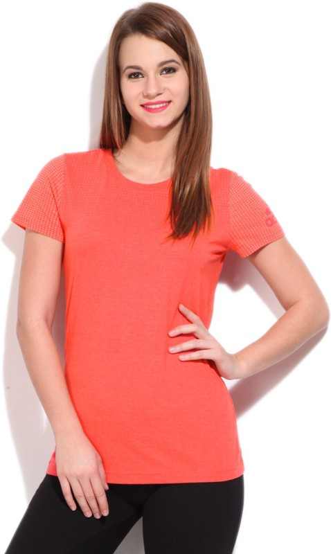 Adidas Self Design Women's Round Neck Orange T-shirt