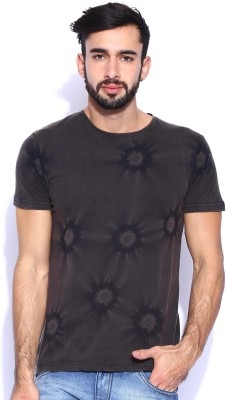 Le Bison Solid Men's Round Neck Grey T-Shirt