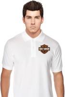 T Shirts (Men's) - Trishlaarts Printed Men's Polo Neck White T-Shirt