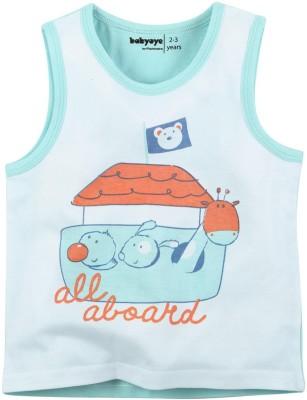 Babyoye Printed Boy's Round Neck Light Blue T-Shirt
