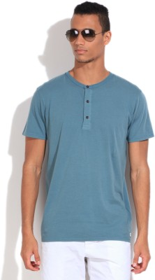Quiksilver Solid Men's Henley Blue T-Shirt