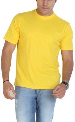Globus Solid Men's Round Neck Yellow T-Shirt