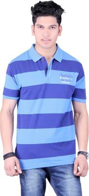Numalo Striped, Embroidered Men,s Polo Neck Blue, Light Blue T-Shirt