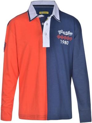Gini & Jony Solid Boy's Polo Neck Dark Blue T-Shirt