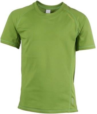 Quechua Solid Boy's Round Neck Green T-Shirt