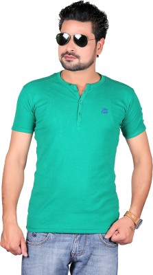 Cute Collection Solid Men's Round Neck Green T-Shirt