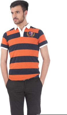 Basics Striped Men's Polo Neck Orange T-Shirt