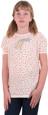 Aristot Embroidered Girl's Round Neck Pink T-Shirt