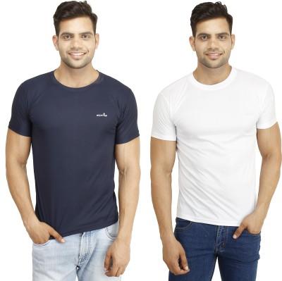 Eprilla Solid Men,s Round Neck White, Dark Blue T-Shirt