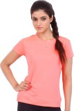 Fitsoul Solid Women's Round Neck Pink T-...