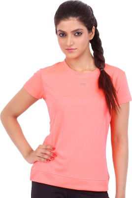 Fitsoul Solid Women's Round Neck Pink T-Shirt