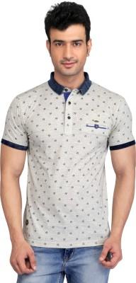 Glabrous Graphic Print Men's Polo Neck Beige T-Shirt