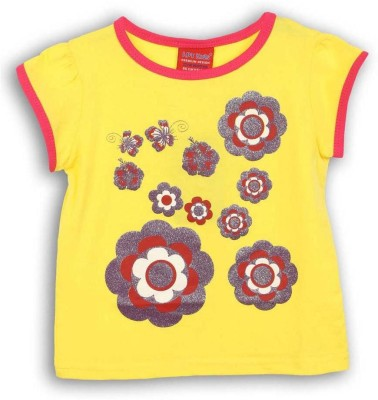 Lilliput Printed Girls Round Neck Multicolor T-Shirt