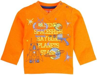 Mom & Me Printed Boy's Round Neck Orange T-Shirt