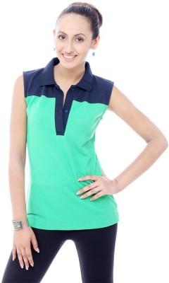 Unicolr Solid Women's Polo Neck Blue, Light Green T-Shirt