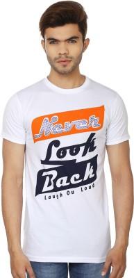 Lowcha Printed Men's Round Neck White, Orange T-Shirt