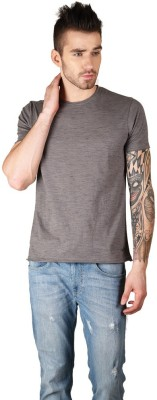 The Glu Affair Solid Men's Round Neck Grey T-Shirt