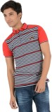 Yellow Tree Striped Men's Polo Neck Red ...