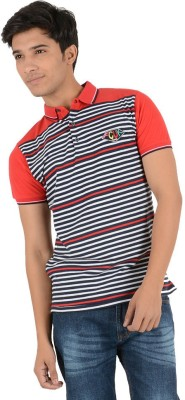 Yellow Tree Striped Men's Polo Neck Red T-Shirt