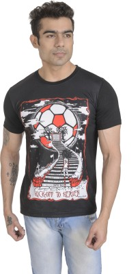 Total Football Graphic Print Men's Round Neck Black T-Shirt