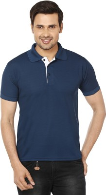 EPG Solid Men's Polo Blue T-Shirt