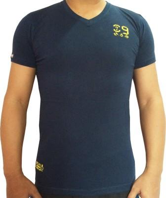 flamingo Solid Men's V-neck Blue T-Shirt
