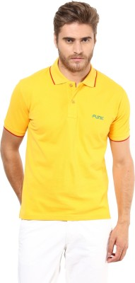 Funk Solid Men's Polo Neck Yellow T-Shirt