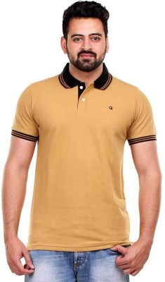 Clotone Solid Men's Polo Neck Brown T-Shirt