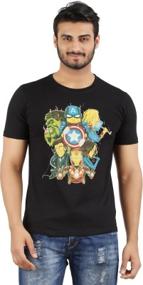 MA Printed Men's Round Neck Black T-Shirt