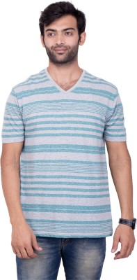 YOUTH & STYLE Striped Men's Fashion Neck Grey T-Shirt