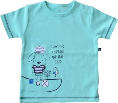 Babeez World Printed Baby Boy's Round Neck Blue T-Shirt