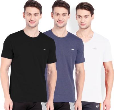 2go Solid Men's Round Neck Blue, Black, White T-Shirt